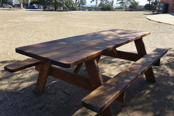 Picnic table stained dark brown