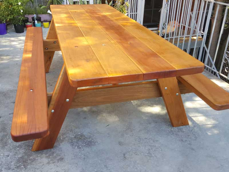 wooden picnic setting