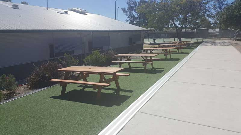 mercial clients with picnic tables available for viewing