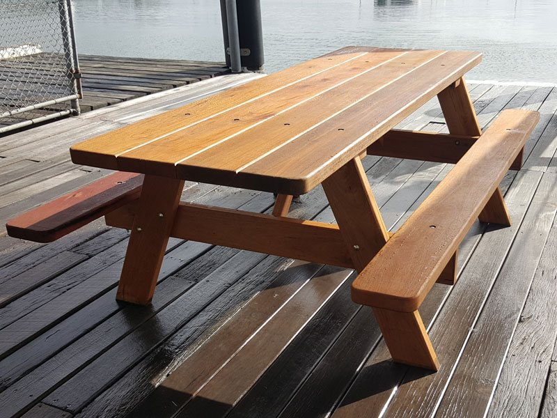 Outdoor furniture at Careel Bay Marina