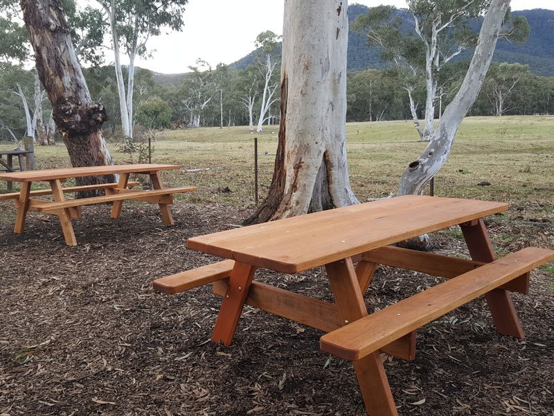 Hardwood picnic setting at a winery in Newcastle NSW Australia
