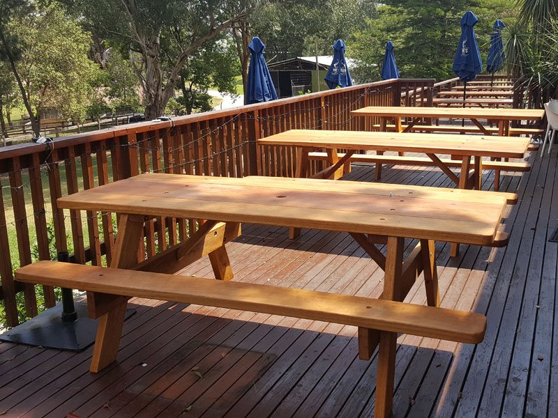 Picnic tables at The Heritage Hotal Wilberforce