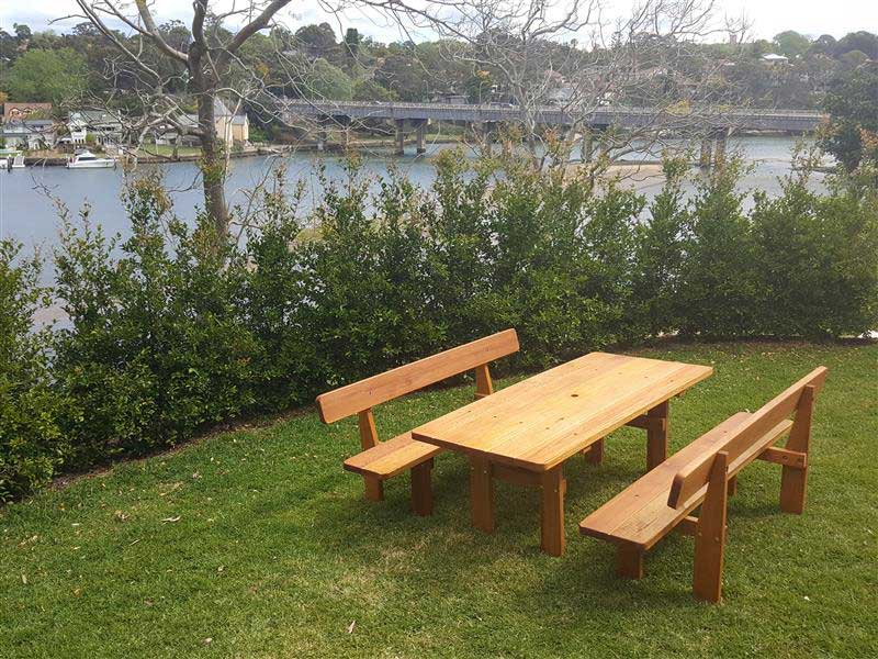 Wooden outdoor setting overlooking Lane Cove River