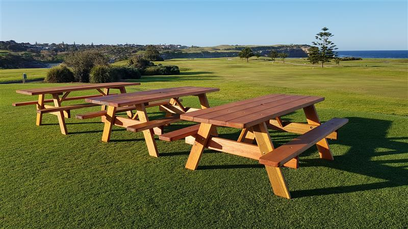 The picnic tables at Little Bay Golf Club