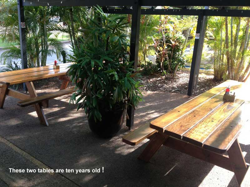 Two old hardwood picnic tables in beautiful condition