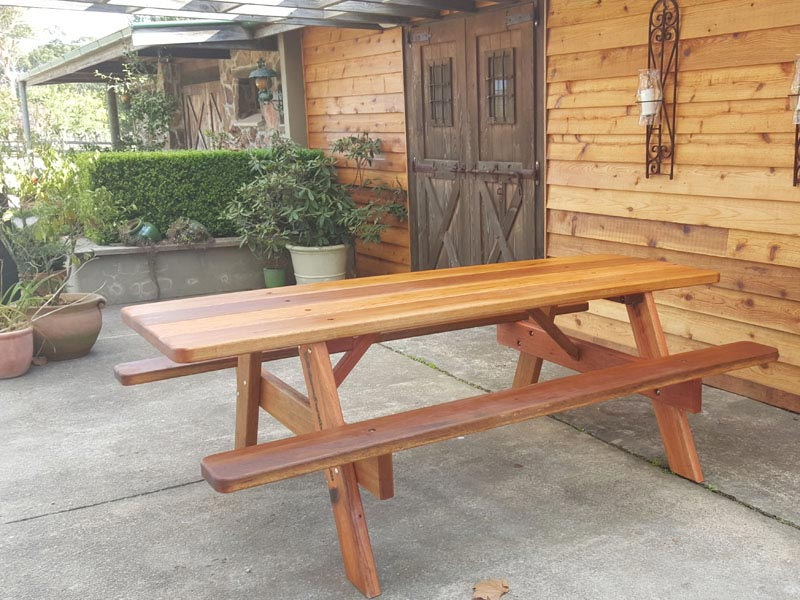Beautiful wooden outdoor furniture at Cherry Tree Hill Winery