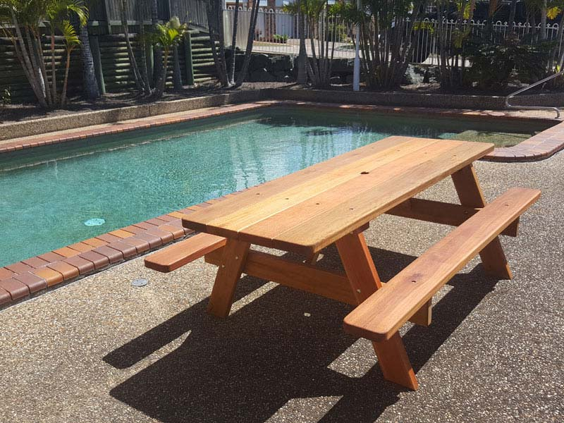 Hardwood picnic pool furniture