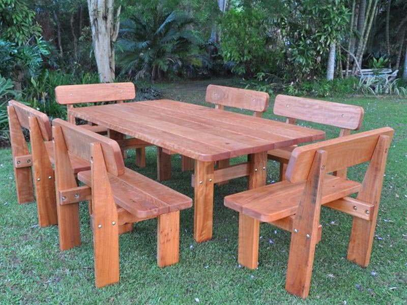 Swagman five piece picnic setting. heavy outdoor furniture - Jumbuck Hardwood Outdoor Setting - Billabong Outdoor Furniture.