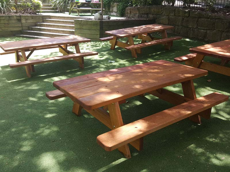 Smaller picnic tables for preschool