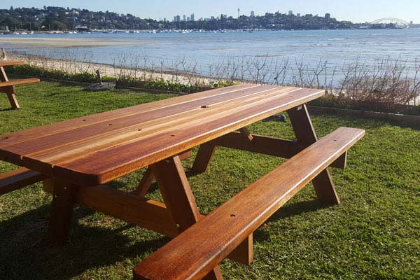 Outdoor furniture at Rose Bay dog beach