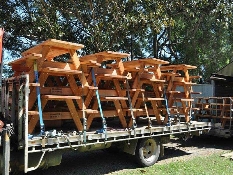 Rigid truck loaded with picnic tables for Melbourne